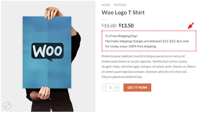 woocommerce free shipping day custom message on product page