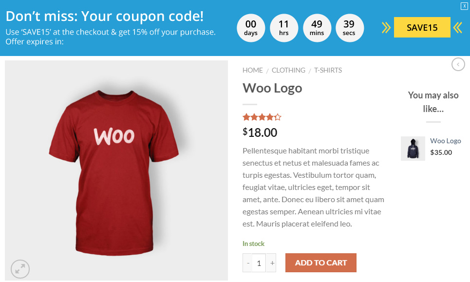 WooCommerce deal details on sticky header