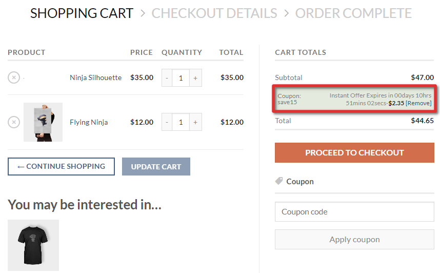 WooCommerce Shopping Cart with Countdown Timer