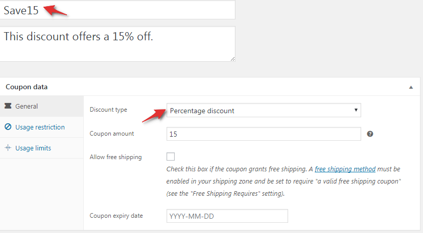 WooCommerce discount coupon Save 15