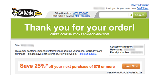 GoDaddy thanks customers and then reveals a discount coupon code on the Thank You Page