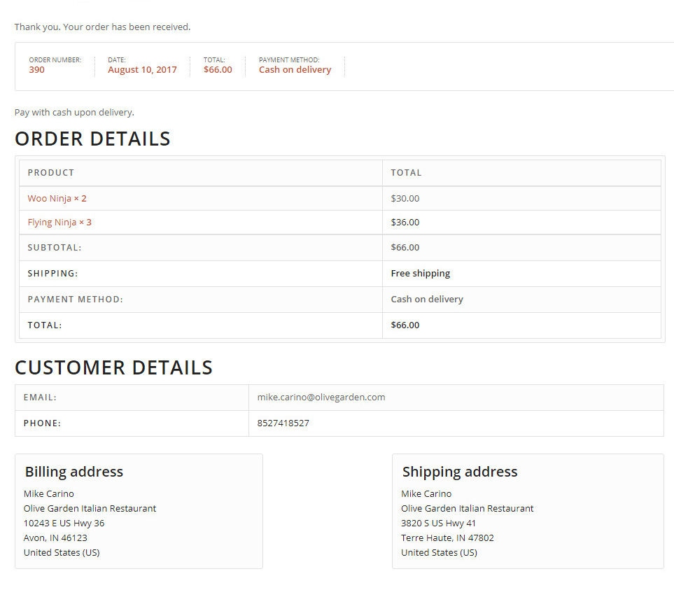 Original WooCommerce Thank You Page