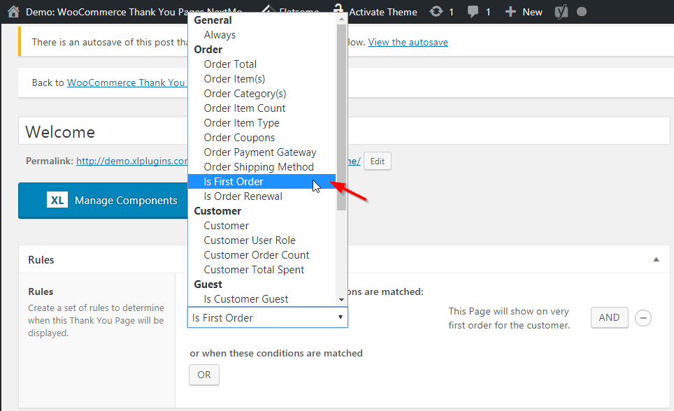 woocommerce thank you page nextmove rule builder