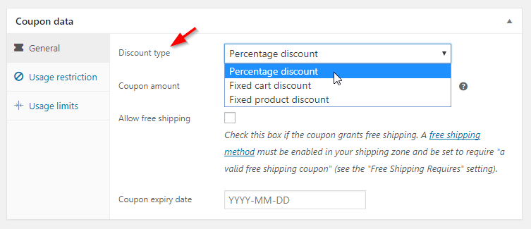 woocommerce coupons select discount type