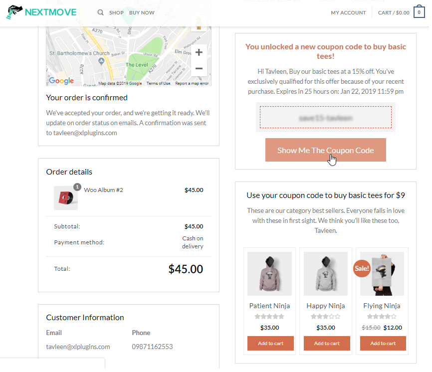 woocommerce thank you page with coupon code