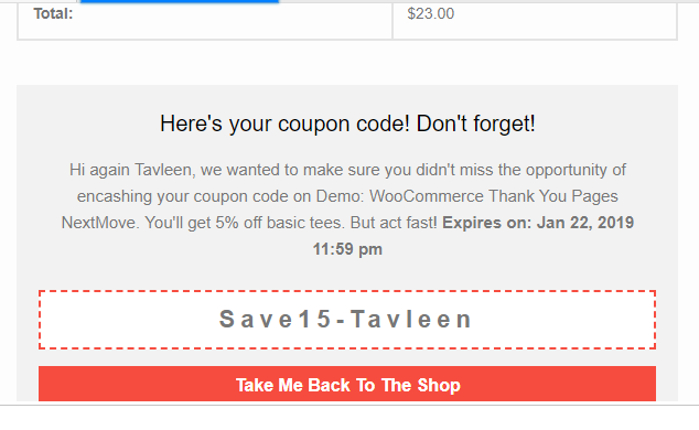 woocommerce order email - coupon code